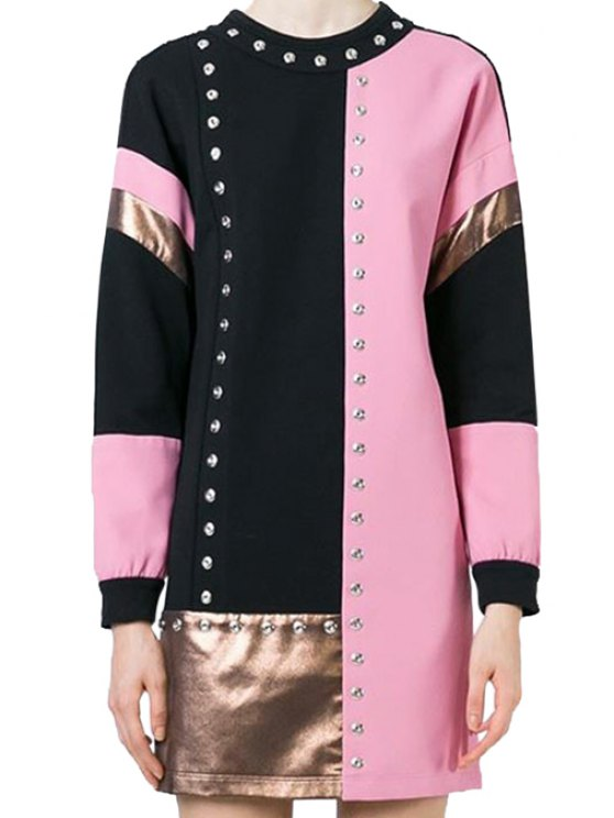 ladies Round Neck Color Block Sequined Long Sleeve Dress - PINK ONE SIZE(FIT SIZE XS TO M)