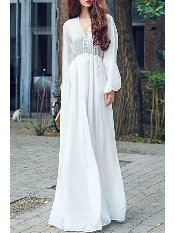 best White Chiffon Plunging Neck Long Sleeve Maxi Dress - WHITE M