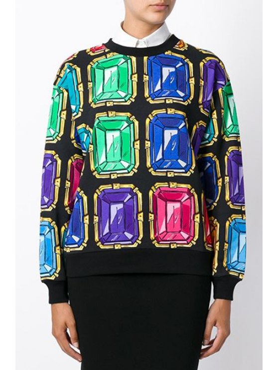 women's Colorful Gem Print Long Sleeve Sweatshirt - COLORMIX ONE SIZE(FIT SIZE XS TO M)