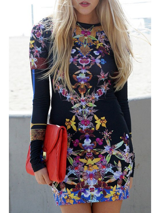 online Floral Round Neck Long Sleeve Bodycon Dress - BLACK S