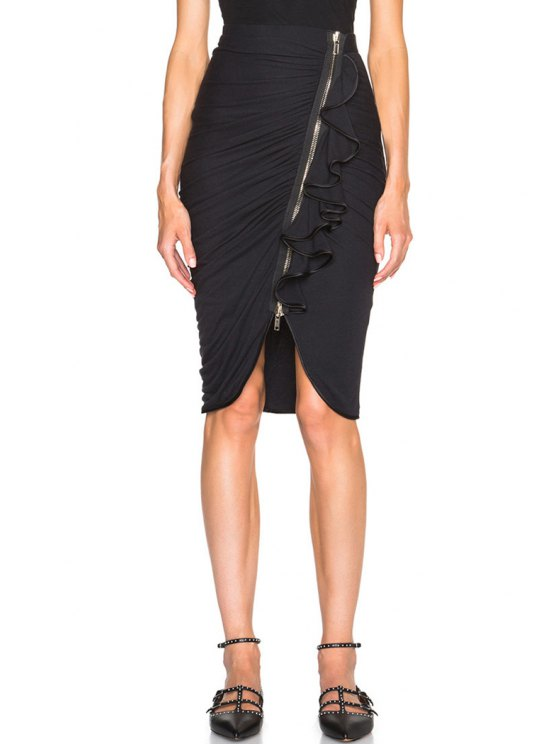 women Solid Color Flounce Splicing Zipper Fly Skirt - BLACK ONE SIZE(FIT SIZE XS TO M)