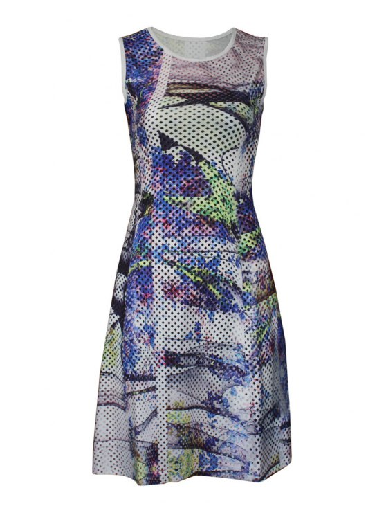 outfits Building Print Round Neck Sleeveless Dress - COLORMIX S