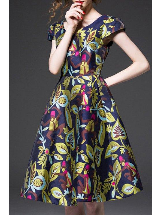 best Short Sleeve Colorful Jacquard Prom Dress - BLUE S