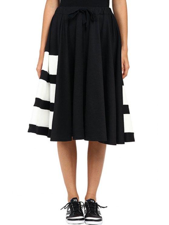 women's Black White Stripe Midi Skirt - BLACK ONE SIZE(FIT SIZE XS TO M)