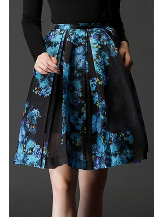 hot Blue Print A-Line Midi Skirt - BLUE XS