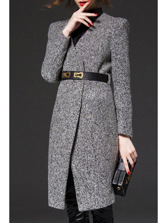 chic V-Neck Gray Trench Coat - GRAY S