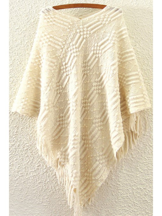women Sequins Tassels V Neck Jumper - OFF-WHITE ONE SIZE(FIT SIZE XS TO M)