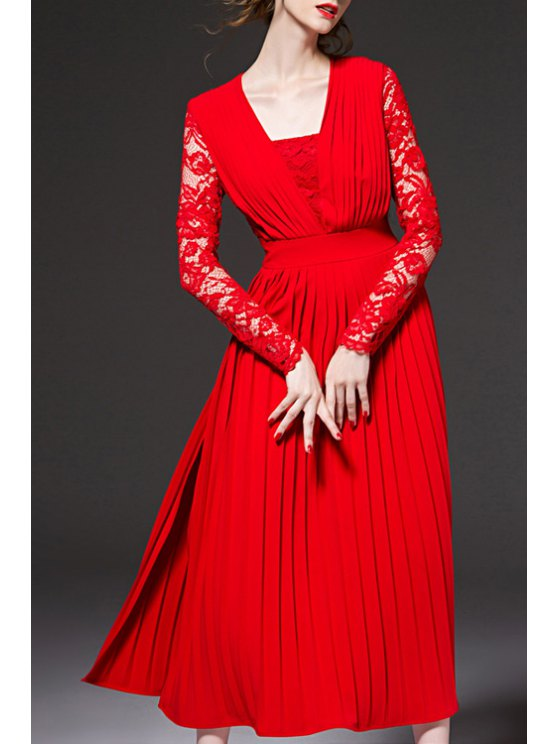 lady Lace Spliced High Slit Red Dress - RED S