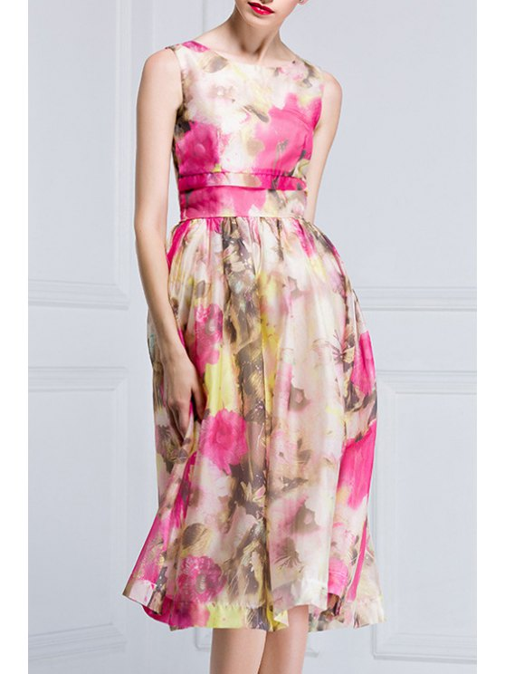 unique Sleeveless Nipped Waist Floral Print Dress - COLORMIX S