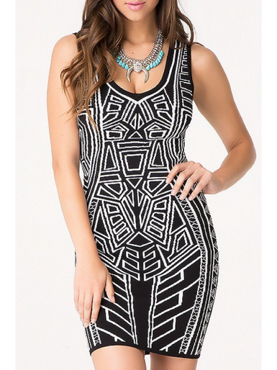 unique Black White Geometric Print Sleeveless Dress - BLACK ONE SIZE(FIT SIZE XS TO M)