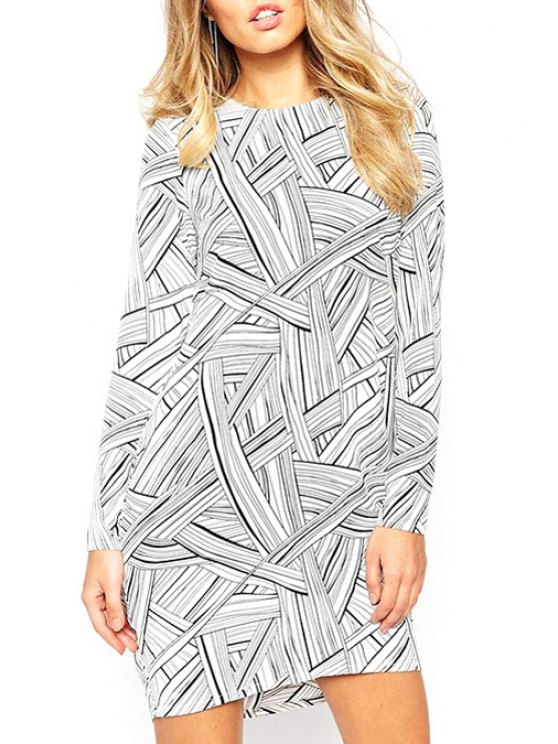 trendy Abstract Print Waterdrop Back Dress - WHITE S