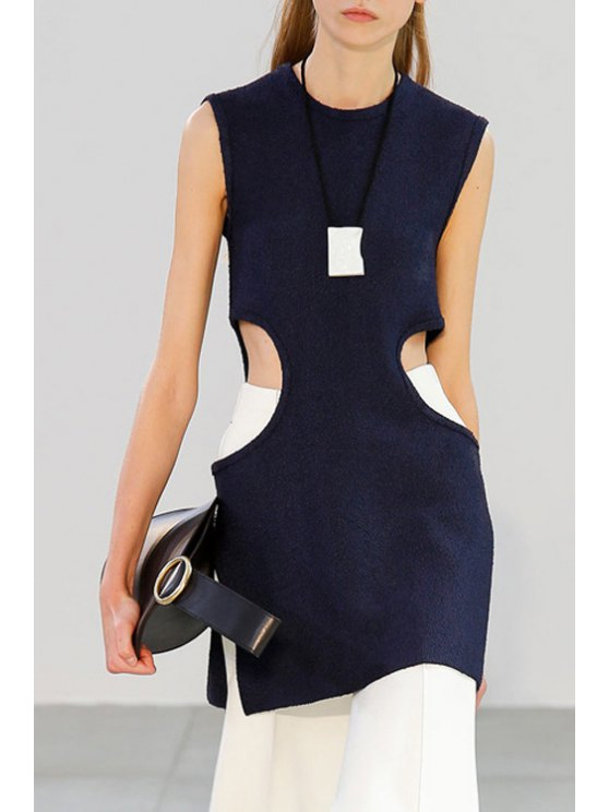 latest Sleeveless Cut Out Side Slit Dress - PURPLISH BLUE S