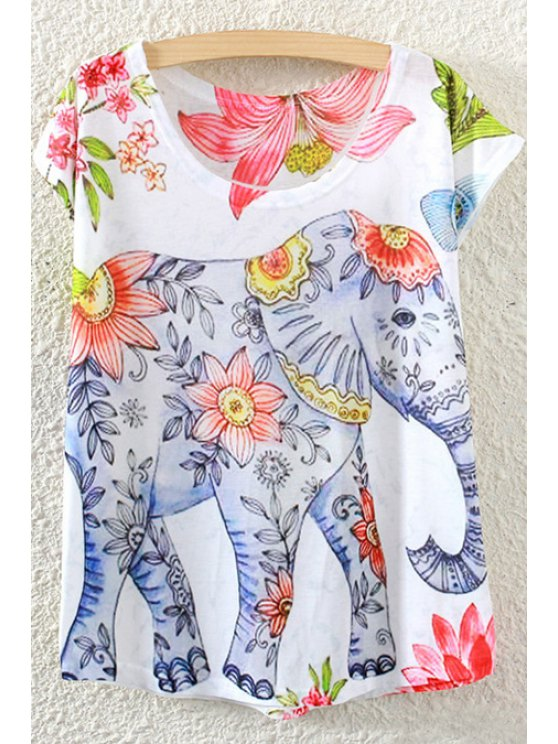 women's Elephant Pattern Short Sleeve T-Shirt - WHITE ONE SIZE(FIT SIZE XS TO M)