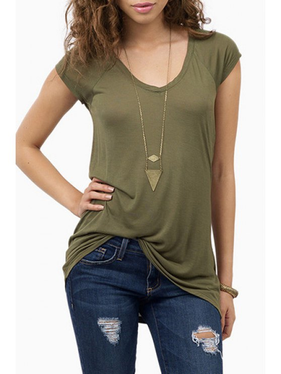 outfit Short Sleeve Army Green T-Shirt - ARMY GREEN S