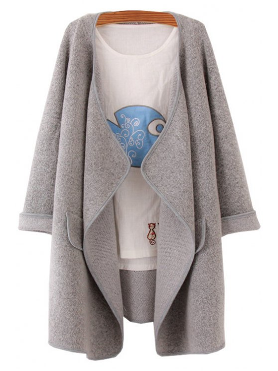 fancy Pure Color Long Sleeve Turn Down Collar Cardigan - GRAY ONE SIZE(FIT SIZE XS TO M)
