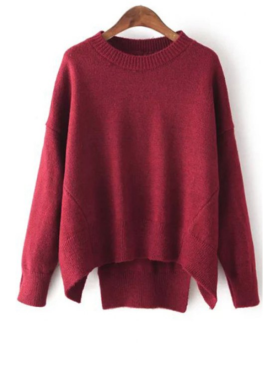 womens High Low Round Neck Long Sleeve Jumper - WINE RED ONE SIZE(FIT SIZE XS TO M)