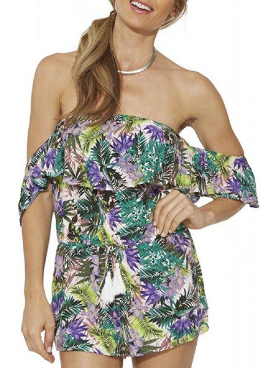 outfits Off-The-Shoulder Tropical Print Romper - COLORMIX S