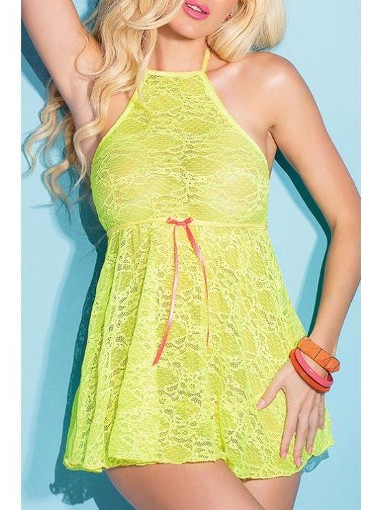 hot Halter Neck Backless Lace Sleeveless Babydoll - NEON GREEN XL