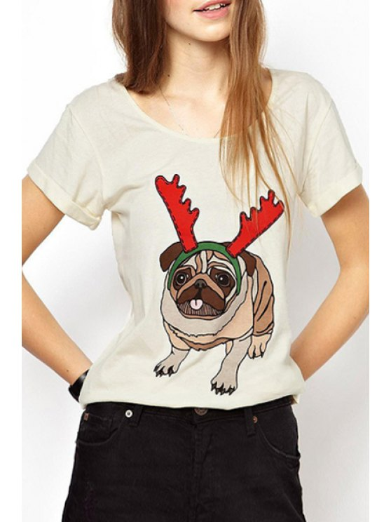 trendy Short Sleeve Cartoon Pattern T-Shirt - OFF-WHITE S