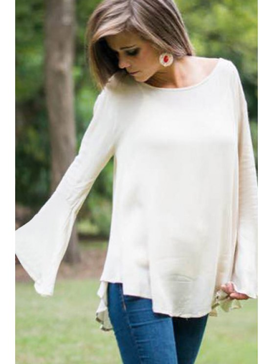 affordable Bell Sleeve Lace Spliced Openwork T-Shirt - WHITE S