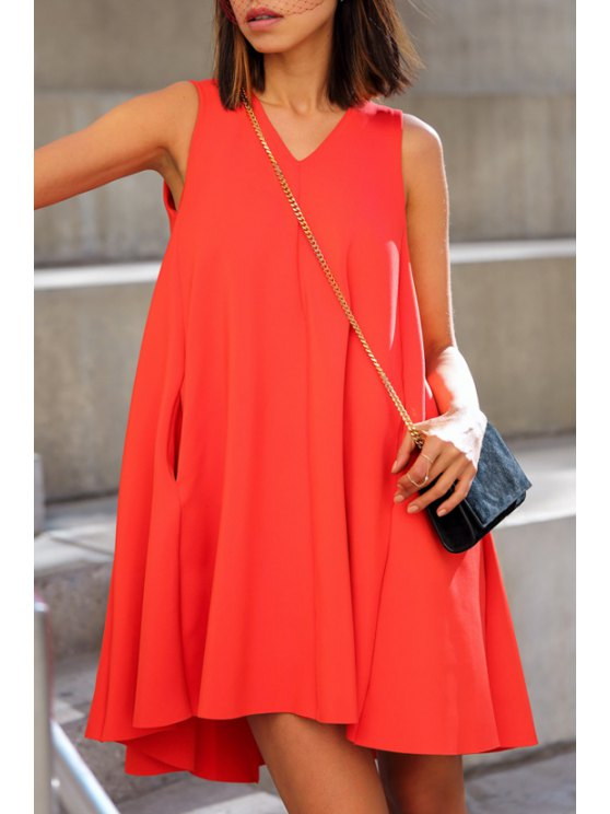 new V-Neck Solid Color Ball Gown Dress - JACINTH S