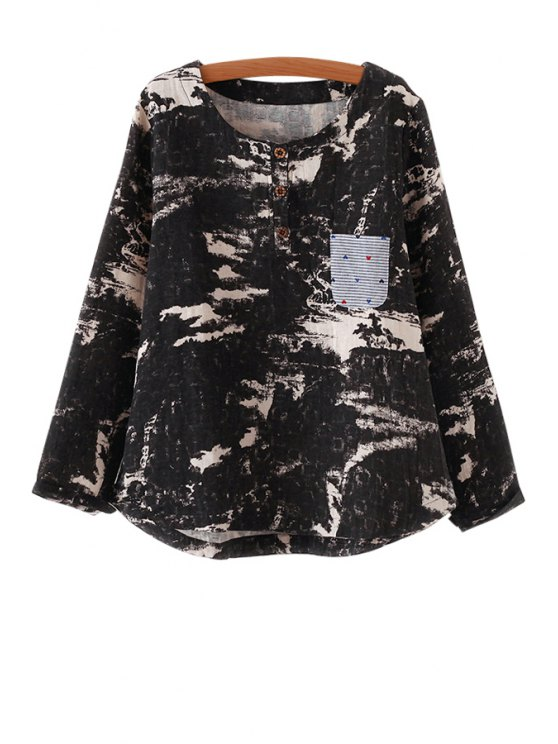 buy Long Sleeve Printed Loose T-Shirt - BLACK ONE SIZE(FIT SIZE XS TO M)