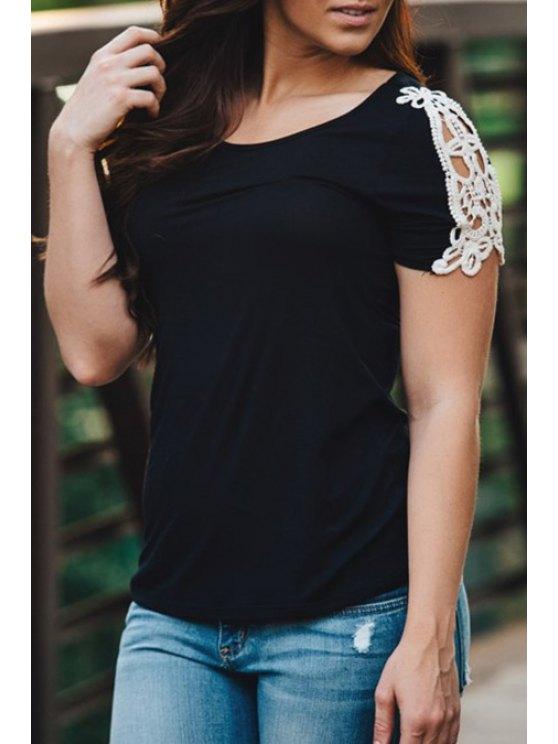 women's Lace Splicing Short Sleeves T-Shirt - BLACK S