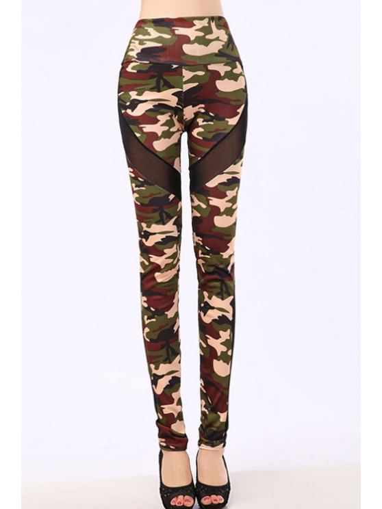 hot Camo Voile Splicing Narrow Feet Leggings - ARMY GREEN ONE SIZE(FIT SIZE XS TO M)