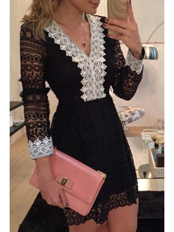 women Lace Spliced V Neck Nine-Minute Sleeve Dress - BLACK S