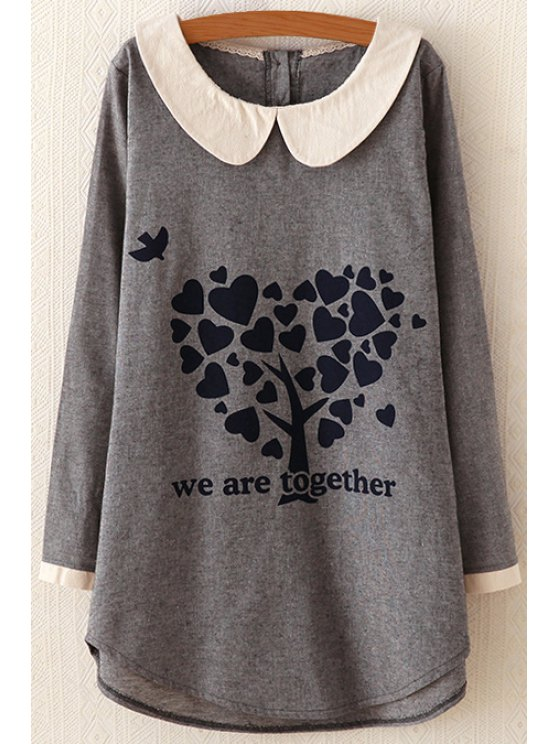 buy Peter Pan Collar Heart Print Dress - GRAY ONE SIZE(FIT SIZE XS TO M)