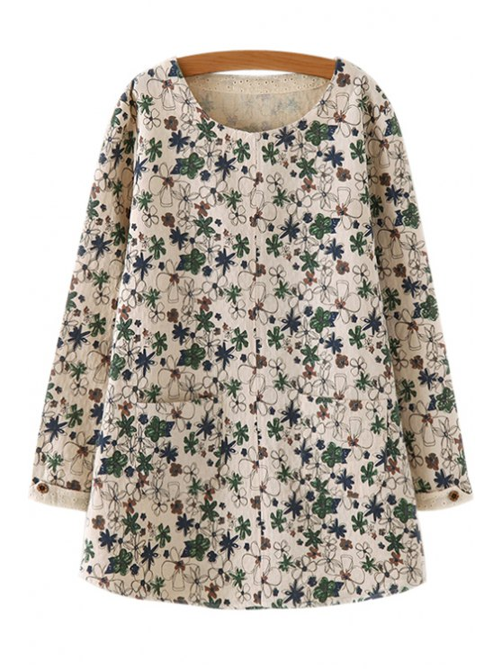ladies Long Sleeve Floral Print Long T-Shirt - GREEN ONE SIZE(FIT SIZE XS TO M)