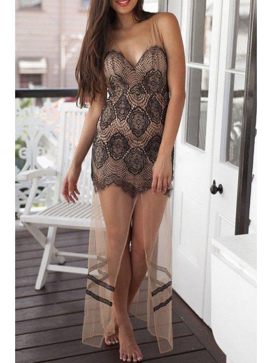 chic Hollow Out Front Slit V-Neck Lace Maxi Dress - BLACK L
