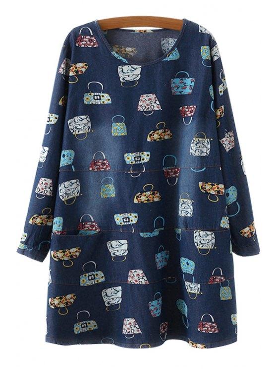 womens Long Sleeve Handbag Print Denim Dress - BLUE ONE SIZE(FIT SIZE XS TO M)