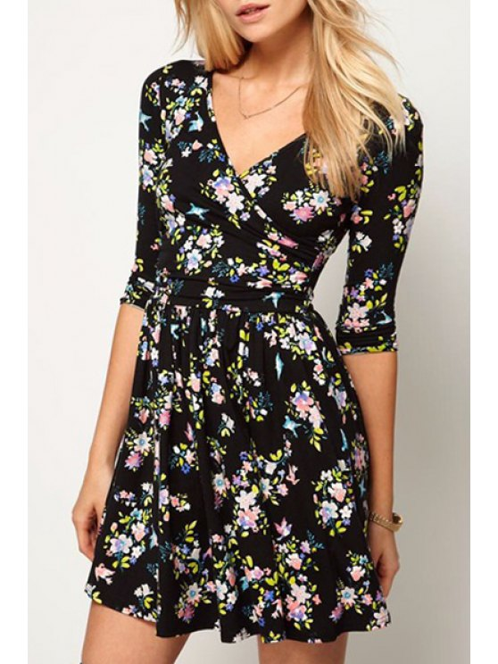 women's Tiny Floral V Neck Half Sleeve Dress - BLACK S