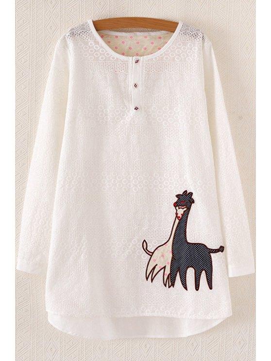 women Embroidered Giraffe Pattern Dress - WHITE ONE SIZE(FIT SIZE XS TO M)