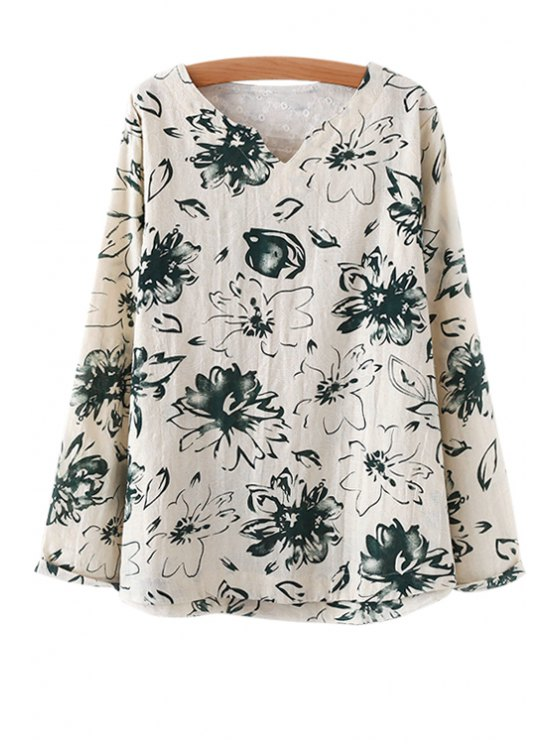 hot Floral Loose-Fitting Linen T-Shirt - GREEN ONE SIZE(FIT SIZE XS TO M)