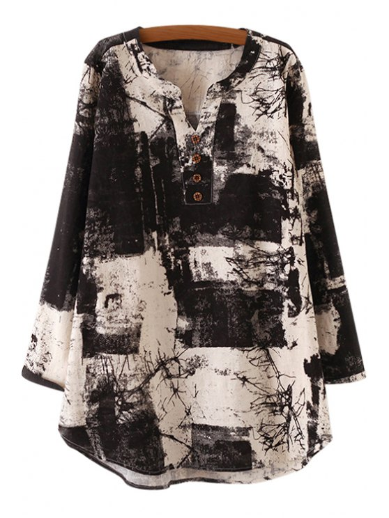 women's Long Sleeve Ink Painting Print Dress - BLACK ONE SIZE(FIT SIZE XS TO M)