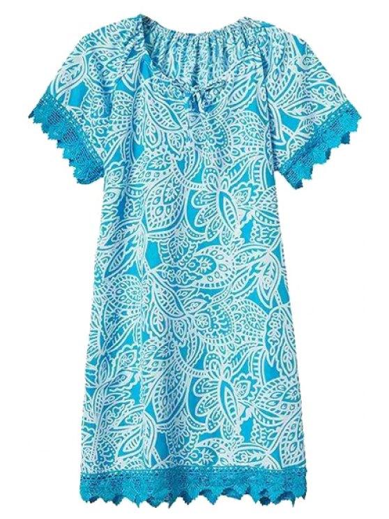 hot Floral Lace Spliced Short Sleeve Dress - LIGHT BLUE S