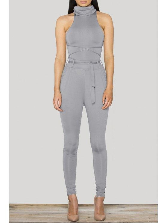 unique Lace-Up Backless Solid Color Bodycon Jumpsuit - GRAY XL
