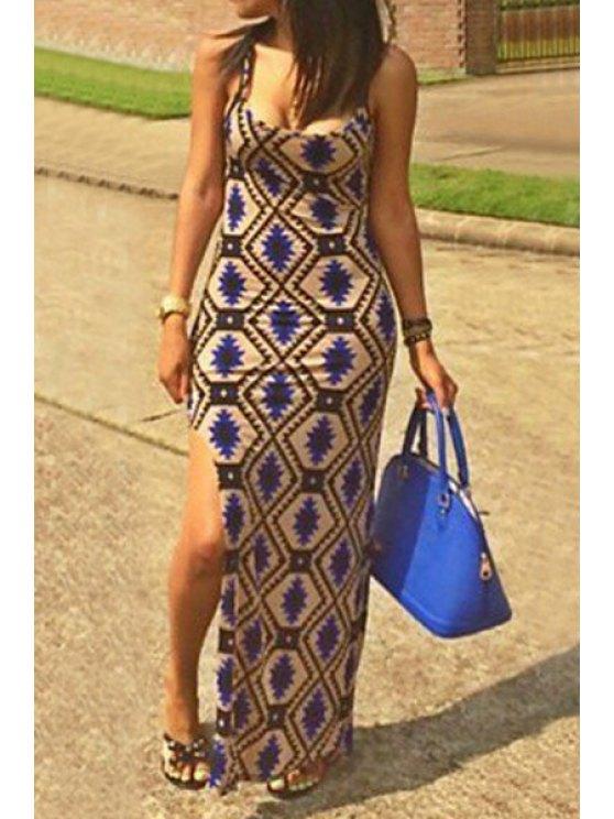 trendy Argyle Print Spaghetti Strap Open Back Dress - COLORMIX S