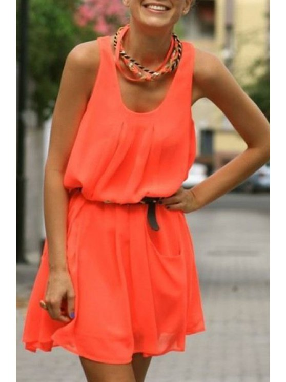 affordable Scoop Neck  Pure Color Ruffle Sleeveless Dress - JACINTH S