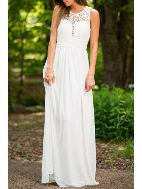 unique Lace Spliced Openwork White Dress - WHITE S
