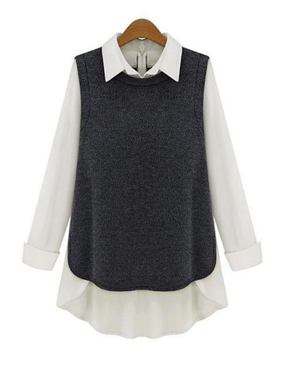 fashion Splicing High Low Long Sleeve Shirt - BLACK GREY S