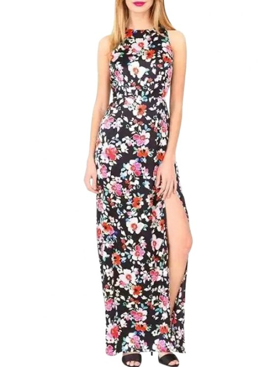 lady Floral Print Sleeveless Side Slit Maxi Dress - BLACK AND WHITE AND RED L