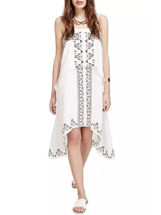 online Embroidery Sleeveless White Dress - WHITE M