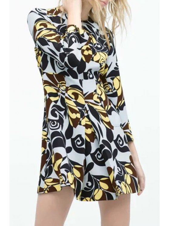 outfits Flower Print Round Neck Long Sleeve Dress - AS THE PICTURE S