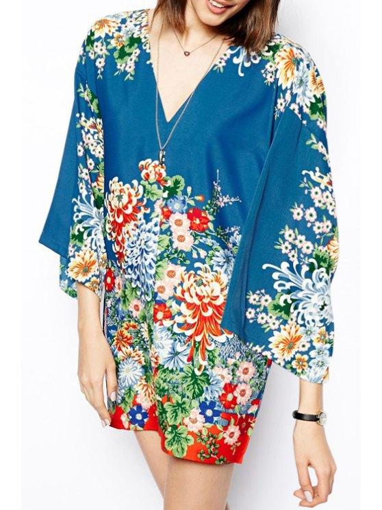 best Flower Print Plunging Neck 3/4 Sleeves Dress - BLUE S
