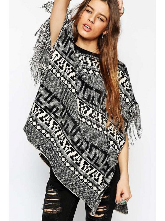 unique Black White Geometric Pattern Short Sleeve Sweater - BLACK ONE SIZE(FIT SIZE XS TO M)