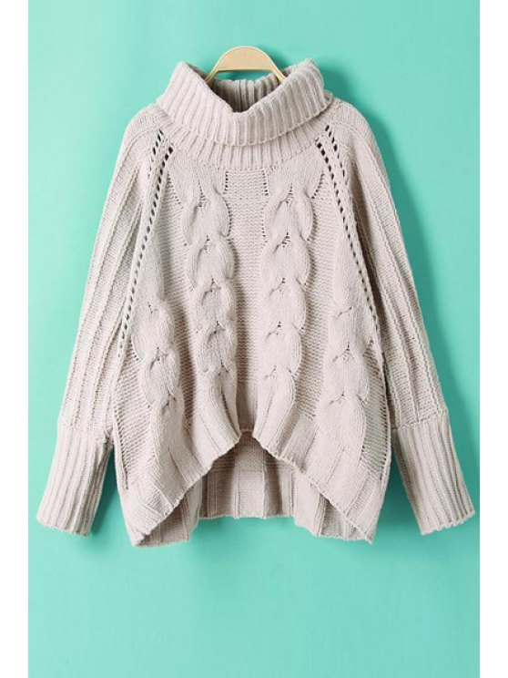 women's Cable-Knit Turtle Neck Long Sleeve Jumper - GRAY S