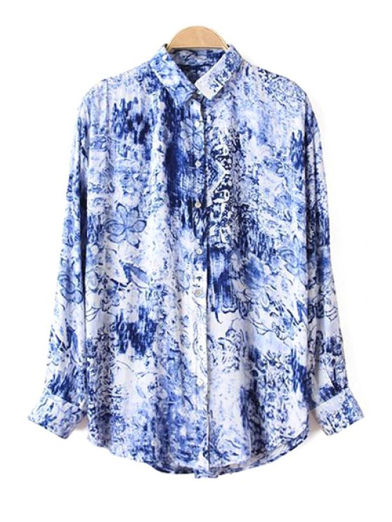 lady Blue Floral Printed Long Sleeve Shirt - BLUE S